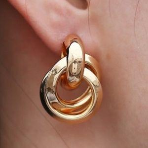 Gold Door Knocker Stud Earrings